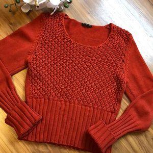 Burnt Orange SISLEY Honeycomb Knit Sweater Size S